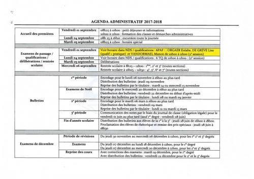 Agenda administratif 2017-2018-1